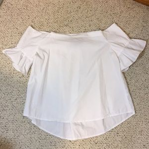 Off-the-shoulder white top